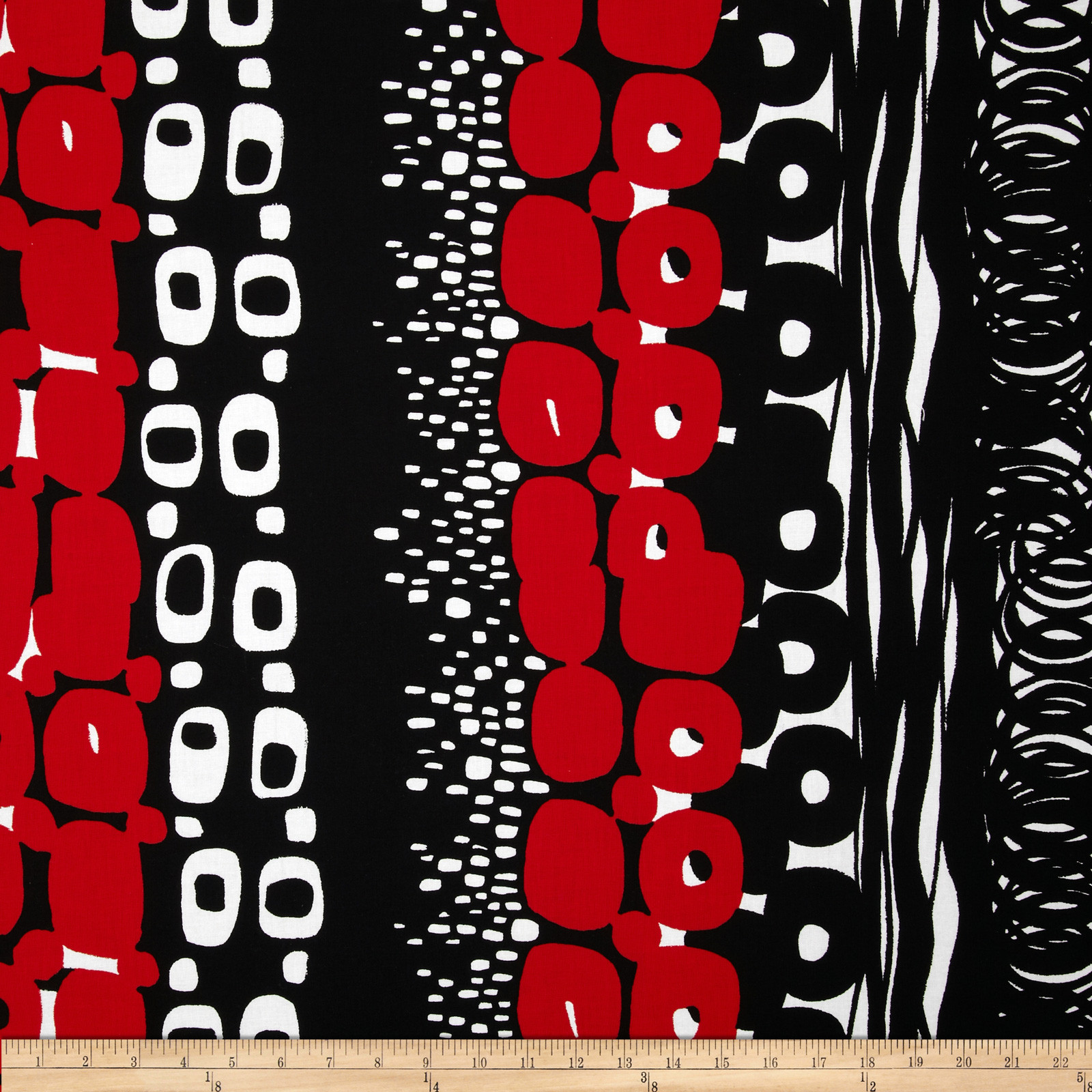 Black & White Otto Black/Red Fabric