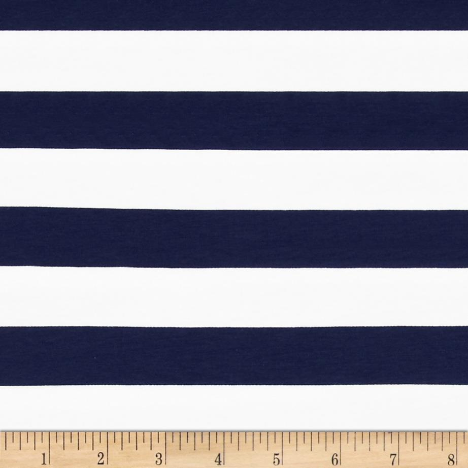 "Riley Blake Cotton Jersey Knit 1"" Stripes Navy"