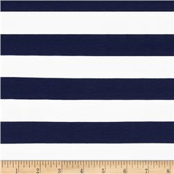 Riley Blake Jersey Knit 1'' Stripes Navy Fabric