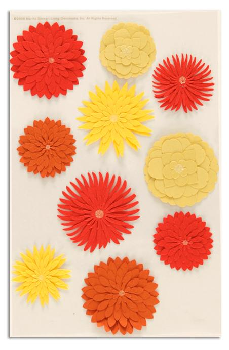 Martha Stewart Crafts 3 Dimensional Stickers Dahlia Orange/Yellow