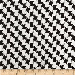 Charmeuse Satin Geometrics Houndstooth Black/White