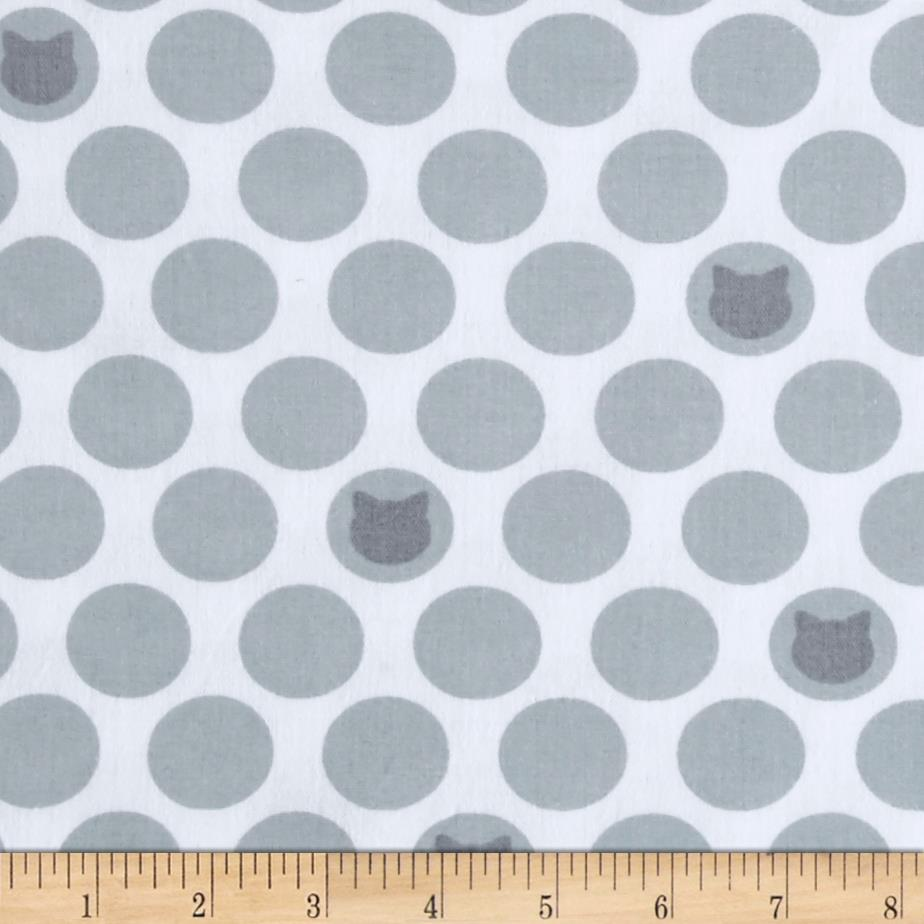 Kaufman Little Prints Double Gauze Cat Dot White/Grey