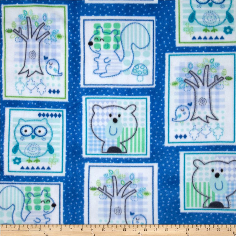 Fleece Prints Woodland Animals Blue/Green