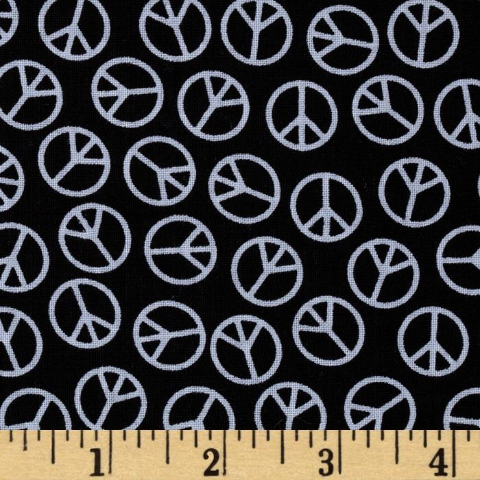 Tiny Peace Signs Black/Silver