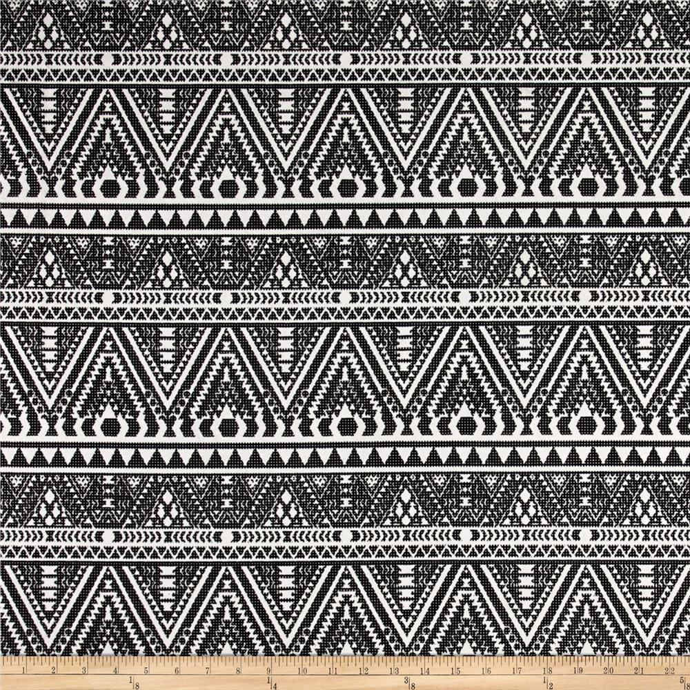 Polyester Flocked Knit Aztec Print Black/White