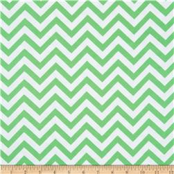 Flannel Chevron Green/White Fabric