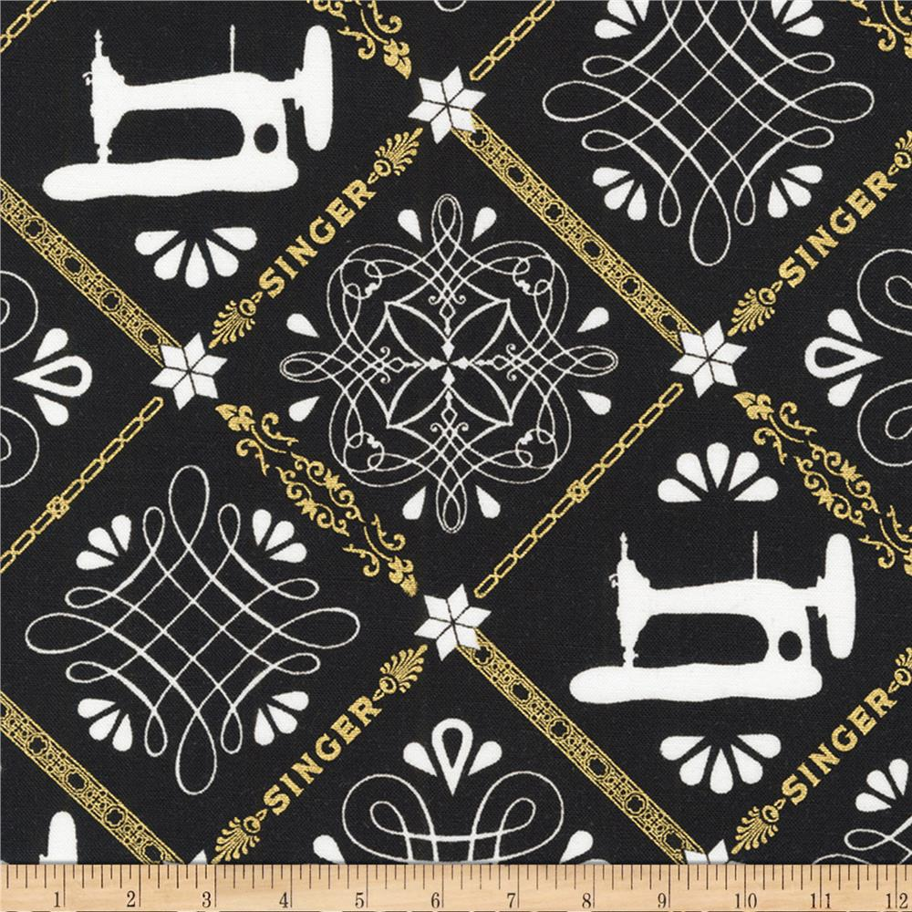 Kaufman sewing with singer metallic trellis black for Sewing fabric