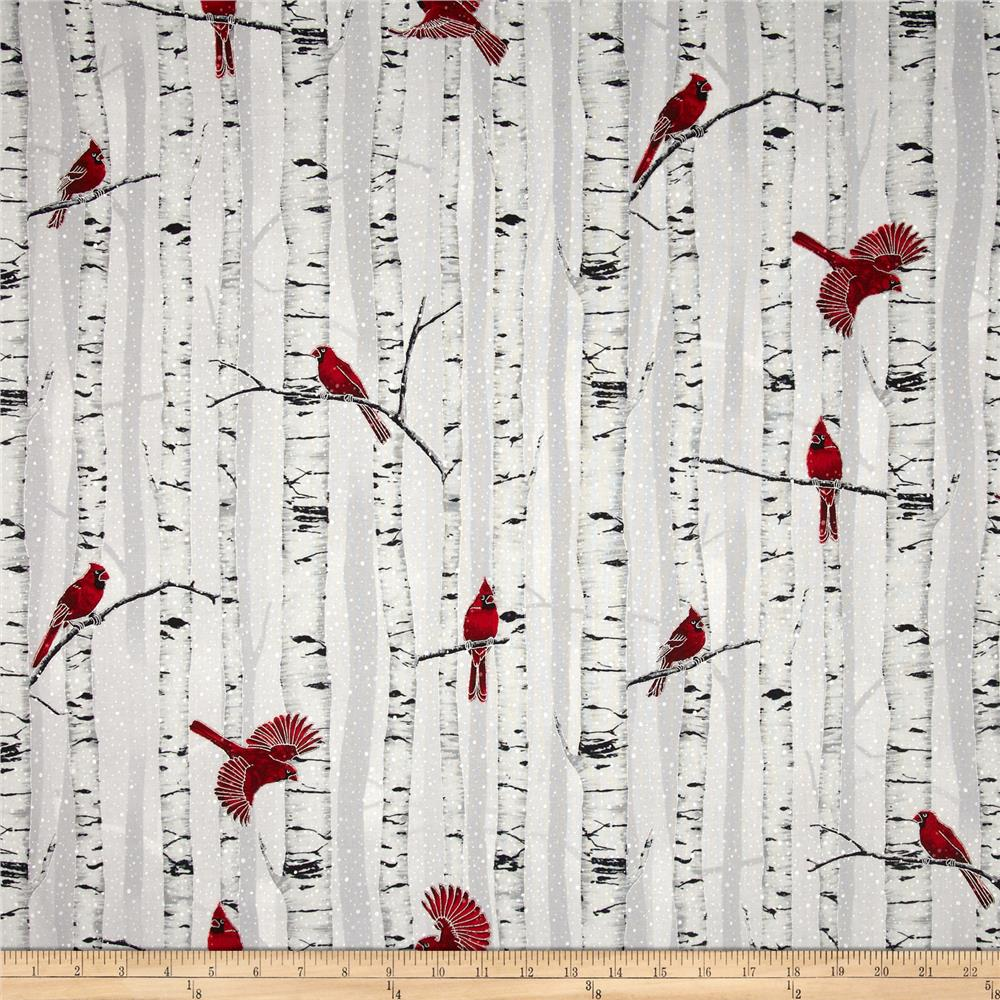 Woodsy Winter Metallic Cardinals in Trees Fog/Silver