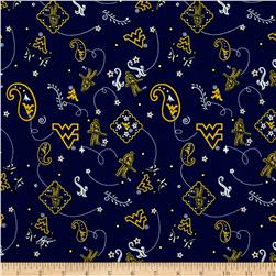 Collegiate Cotton Broadcloth West Virginia University Blue Fabric