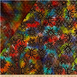 Double Face Quilted Indian Batik Abstract Metallic/Multi