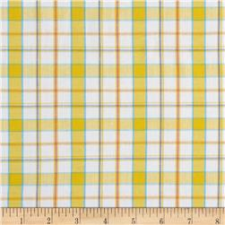 Stretch Poplin Plaid Yarn-Dyed Yellow/Silver Lurex