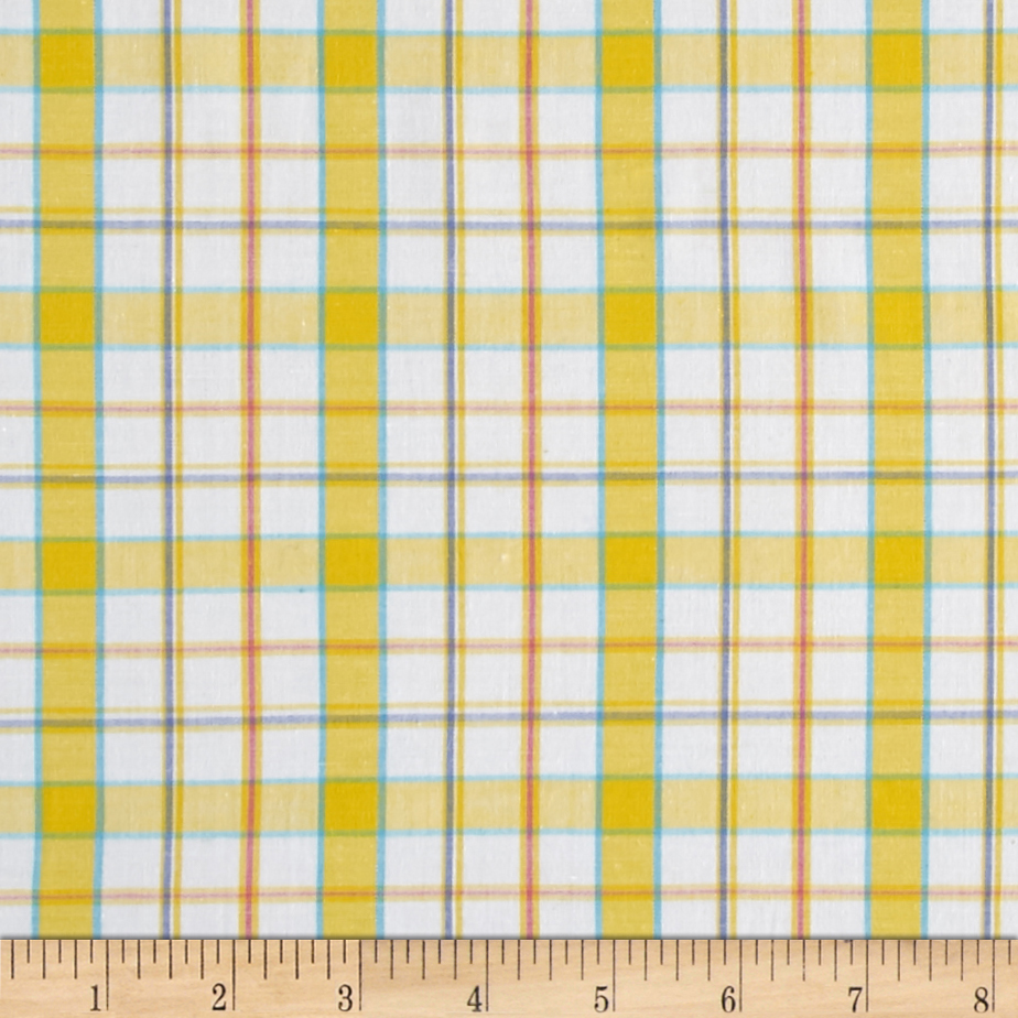 Stretch Poplin Plaid Yarn-Dyed Yellow/Silver Lurex Fabric by Mike Cannety in USA