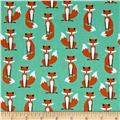 Kaufman Fabulous Foxes Small Foxes Aqua