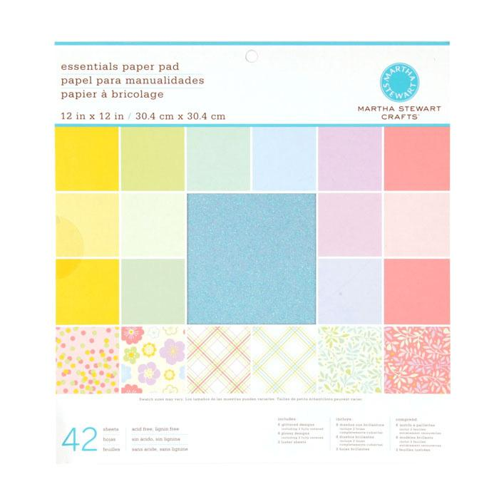 "Martha Stewart Crafts Essentials Paper Pad 12"" X 12"" Pastels"