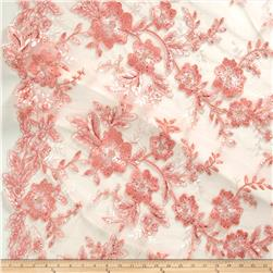 Stretch Floral Embroidered Mesh Lace Peach