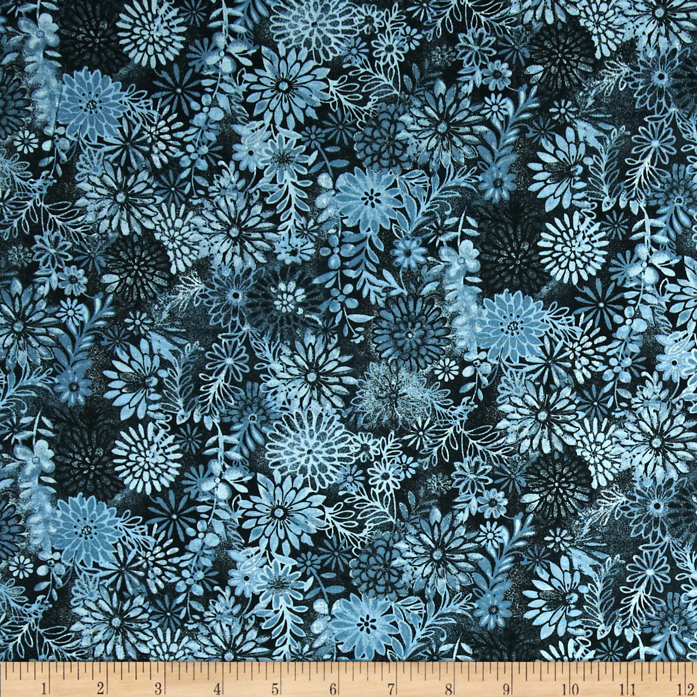 Packed Floral Tonal Dark Blue Fabric