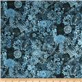 Packed Floral Tonal Dark Blue