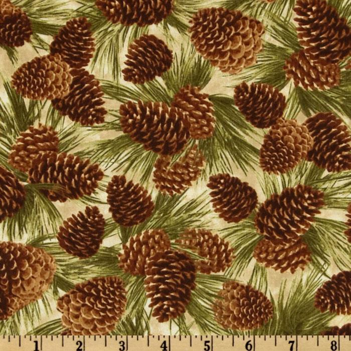 Timeless Treasures Cabin Fever Pine Cones Natural - Discount Designer ...