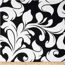 Soft Jersey Knit Flourish Swirls Black/White