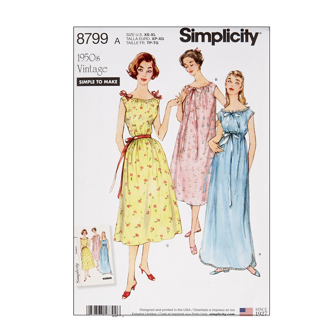1950s Sewing Patterns | Swing and Wiggle Dresses, Skirts Simplicity 8799 Misses Vintage Nightgowns A Sizes XS-S-M-L-XL $13.77 AT vintagedancer.com