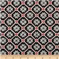 Moda Be Jolly Snowflake Lattice Button Black