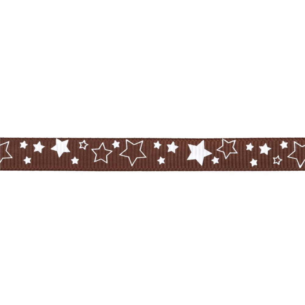 "Riley Blake 3/8"" Grosgrain Ribbon Stars Brown"