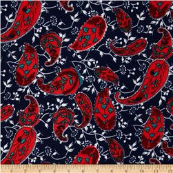 Stretch ITY Jersey Knit Paisley Royal/Red