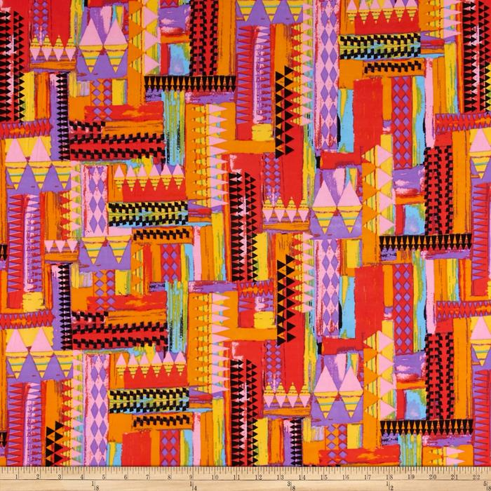 Stretch ITY Knit Print Pink/Yellow/Red/Turquoise
