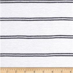 Designer Distress Yarn Dyed Jersey Knit Thin Stripe White/Navy