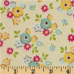 Riley Blake Sidewalks Flannel Small Floral Cream