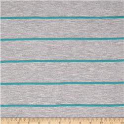 Yarn Dyed Jersey Knit Stripes Grey/Jade