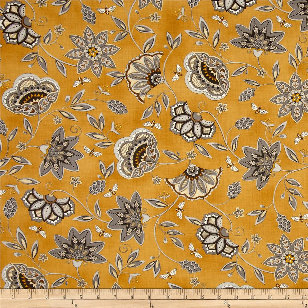 Moda Bee Creative Flowers & Bees Gold