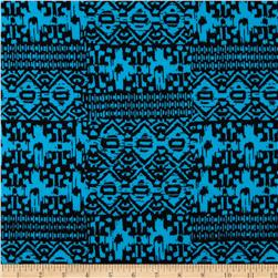 Cotton Spandex Jersey Knit Tribal Blue/Black