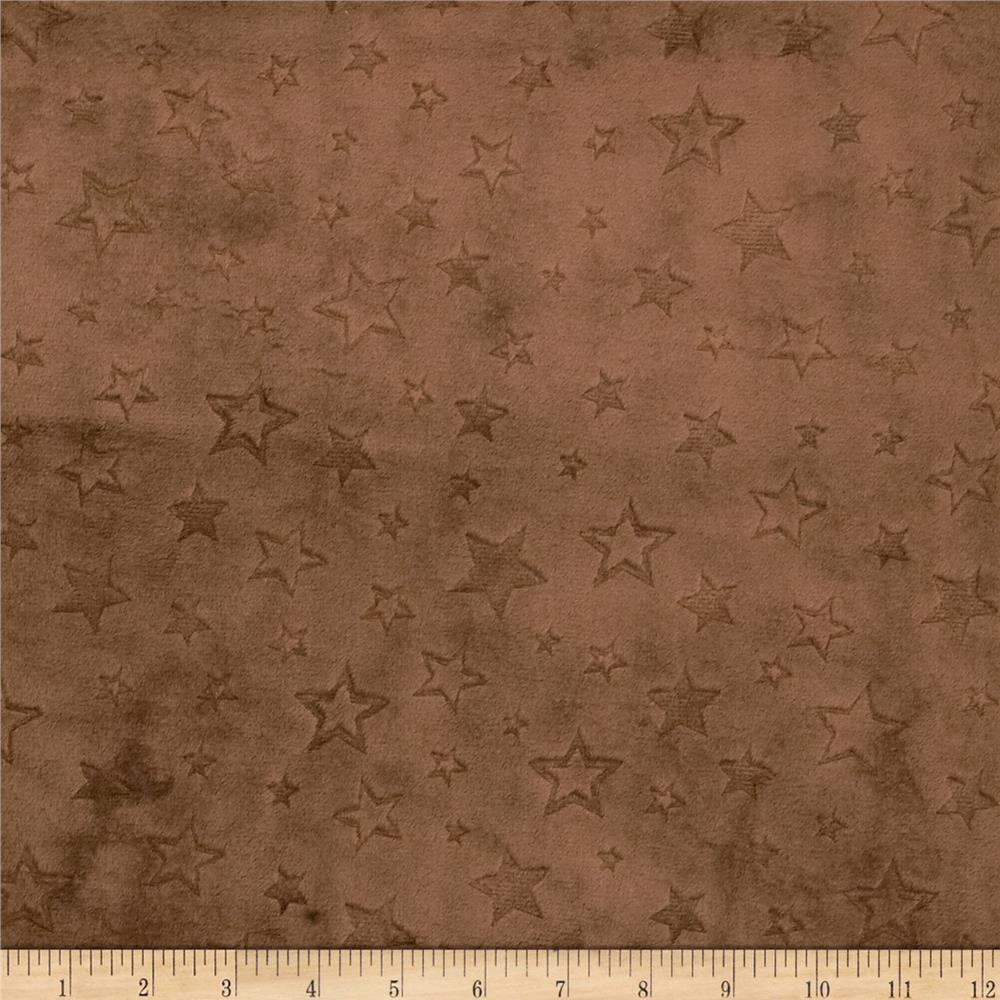 Minky Embossed Star Cuddle Brown