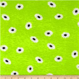 Stretch Rayon Jersey Knit Daisies Lime/White Fabric