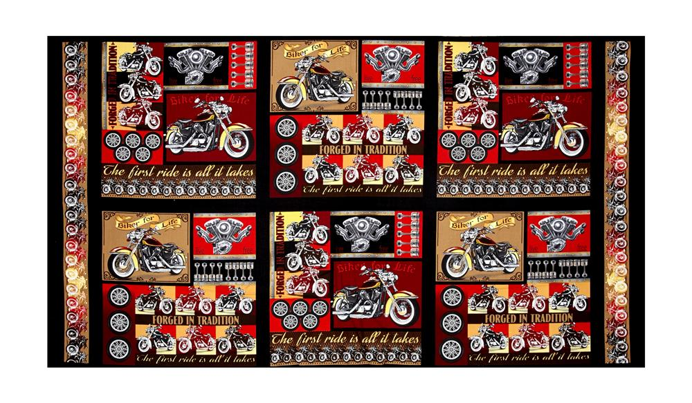 "Biker For Life Patches 24"" Panel Multi"