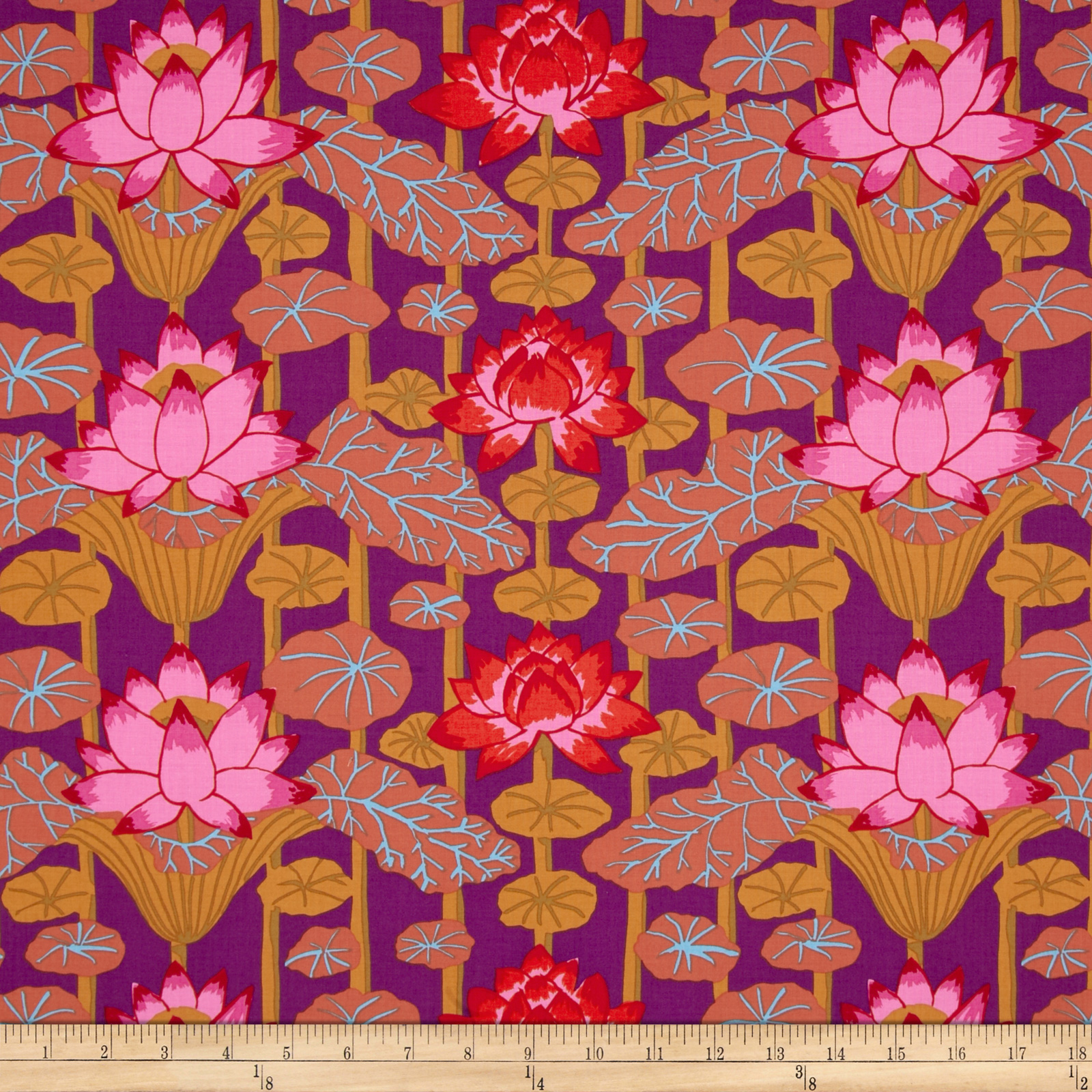Kaffe Fassett Lotus Stripe Red Fabric