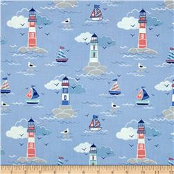 Lewis and Irene Coastal Lighthouses and Sailboats Blue