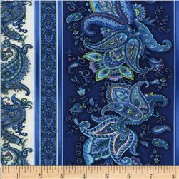 Timeless Treasusres Belize Paisley Border Stripe Indigo Fabric