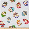 Western Denim & Dirt Flaky Friends Snowman Faces White