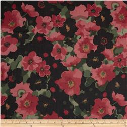 Maribel Voile Bold Flowers Rose/Black