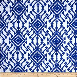 Cotton Spandex Jersey Knit Geometric Ikat Royal/White