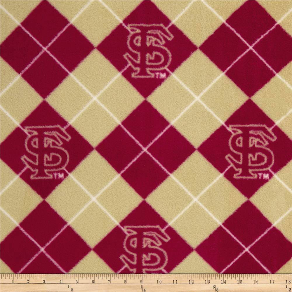 Collegiate Fleece Florida State University Argyle Red/Tan Fabric By The Yard