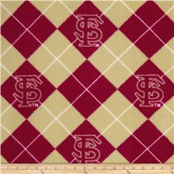 Collegiate Fleece Florida State University Argyle Red/Tan Fabric