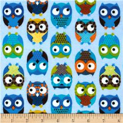 Timeless Treasures Flannel Owls Blue