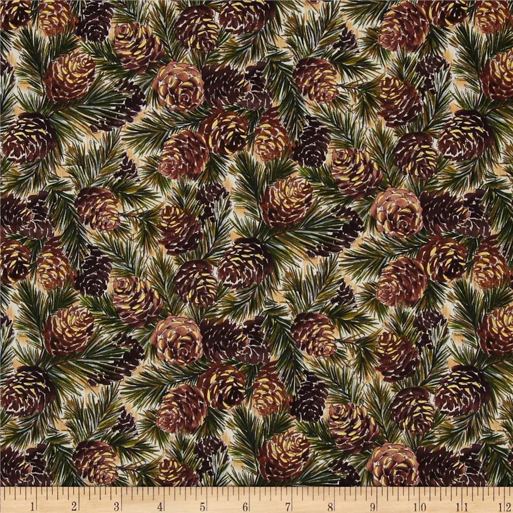 Woodland Christmas Pine Cones Brown/Green