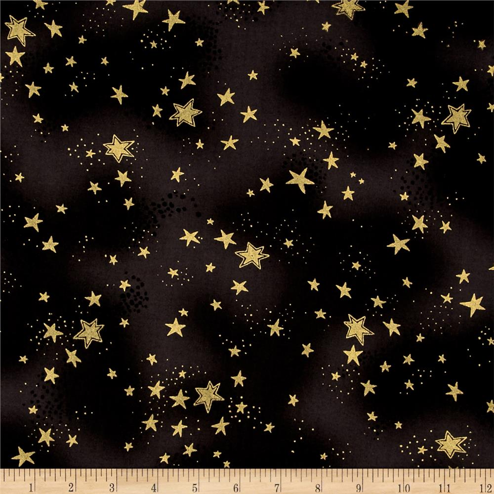 Laurel Burch Enchantment Metallic Stars Black