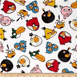 Angry Birds Tossed Birds White Fabric