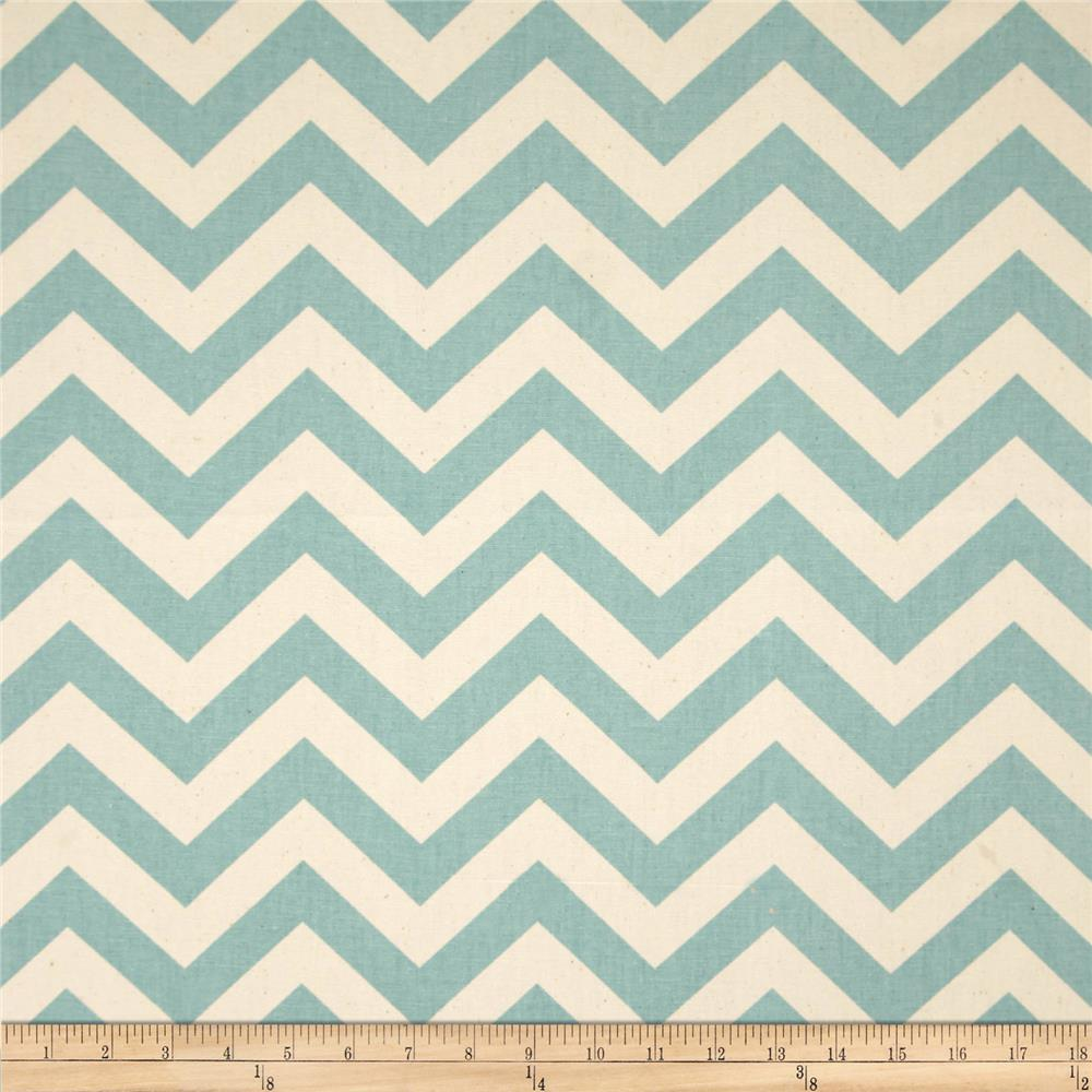 Premier Prints Zig Zag Village Blue/Natural
