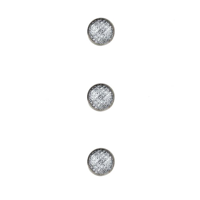 Metalized Button 1/4'' Silver Mesh